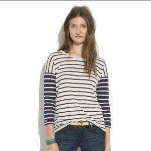 Madewell linen striped shirt drop shoulder